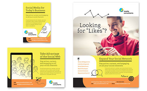 Social Media Consultant Print Ad Template