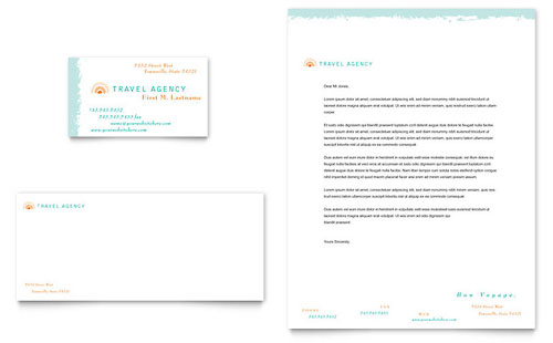 Travel Agency Business Card & Letterhead Template