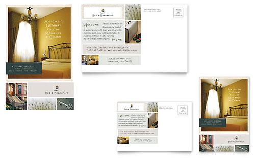 Bed & Breakfast Motel Postcard Template