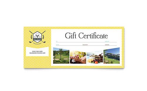 Golf Resort Gift Certificate Template