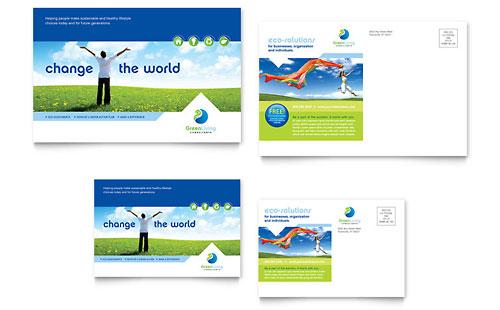 Green Living & Recycling Postcard Template