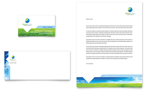 Green Living & Recycling Business Card & Letterhead Template