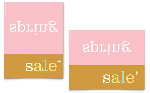 Inverse Upside Down Spring Sale Poster Template