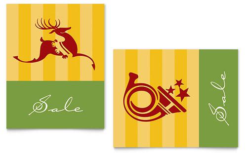 Christmas Reindeer & Trumpet Sale Poster Template