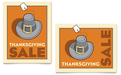 Thanksgiving Pilgrim Sale Poster Template