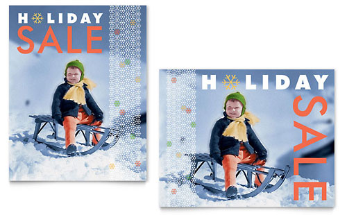 Child Sledding Sale Poster Template
