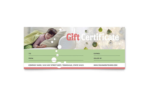 Christmas Dreams Gift Certificate Template