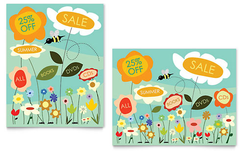 Spring & Summer Flowers Sale Poster Template