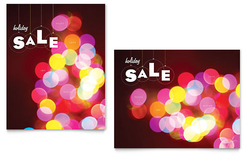 Holiday Lights Sale Poster Template