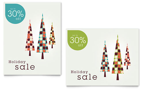 Modern Holiday Trees Sale Poster Template