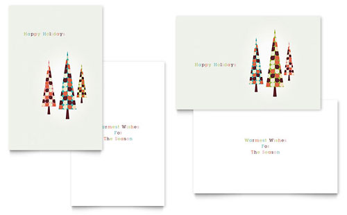 Modern Holiday Trees Greeting Card Template