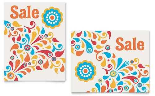 Summer Color Floral Sale Poster Template