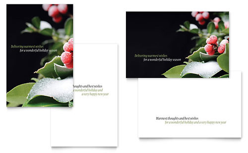 Holly Leaves Greeting Card Template