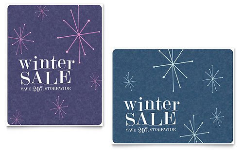 Snowflake Wishes Sale Poster Template