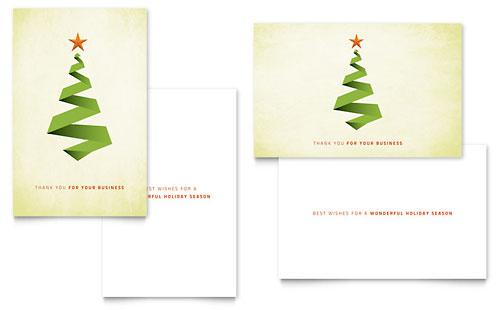 Ribbon Tree Greeting Card Template