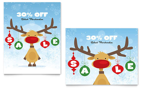 Reindeer Snowflakes Sale Poster Template