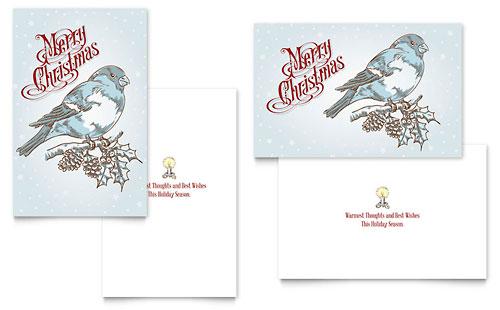 Vintage Bird Greeting Card Template