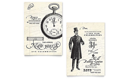 Vintage New Year's Party Invitation Template