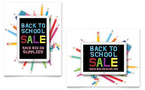 School Supplies Sale Poster Template