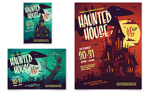 Haunted House Print Ad Template