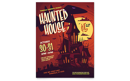 Haunted House Leaflet Template