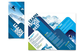 Ski & Snowboard Instructor - Tri Fold Brochure Template