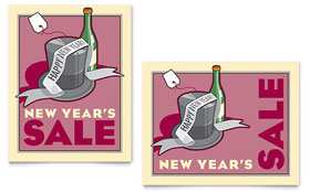 New Year's Champagne - Sale Poster Template